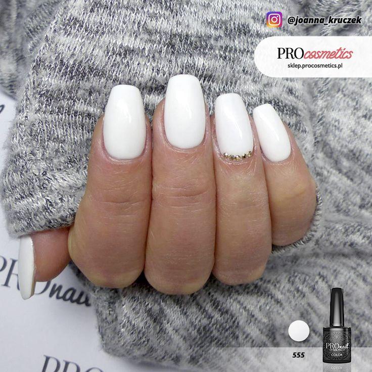 Białe paznokcie hybrydowe żelowe - PROnail 555 Królewna Śnieżka - Stylizacja Paznokci Joanna Kruczek