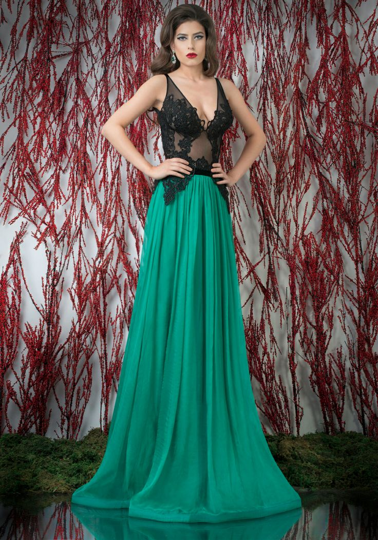 Open back a-line evening dress with black lace and tulle top and flowy green silk veil skirt ♥   Shop your style online or book your appointment in a BIEN SAVVY store: Bucuresti: office@biensavvy.ro / +40757 370 108 Constanta: constanta@biensavvy.ro / +40757 825 185 Brasov brasov@biensavvy.ro / +40757 415 563