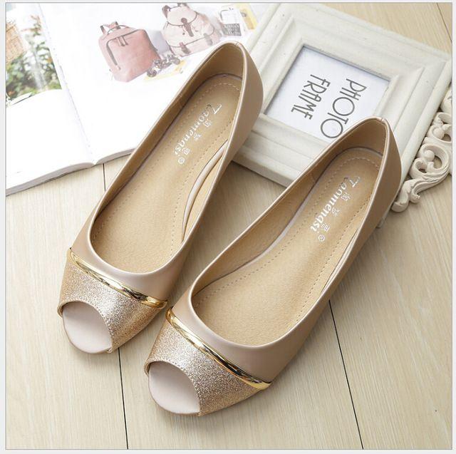 Better Price $17.98, Buy Casual peep toe women flat shoes summer black shoe slip on ladies boat shoes Plus size 33-43