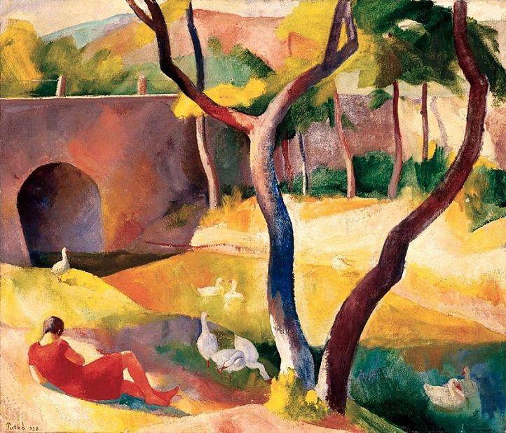 Patkó Károly (1895-1941) - Libapásztorlány a pataknál, 1928 - {Károly Patkó (Hungarian, 1895-1941) - Goose Girl by the Brook, 1928}