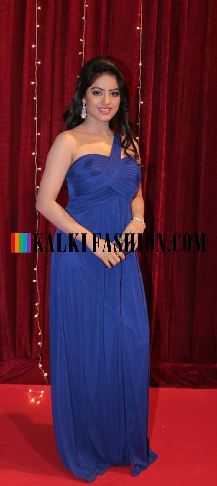 http://www.kalkifashion.com/    Blue being the flavour of the night ,Deepika Singh stepted in a blue gown at Indian Telivision Awards 2013