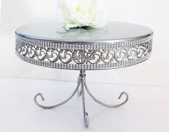 Cake Stand Large Silver Rhinestone Round Party Or Wedding Platter Cu