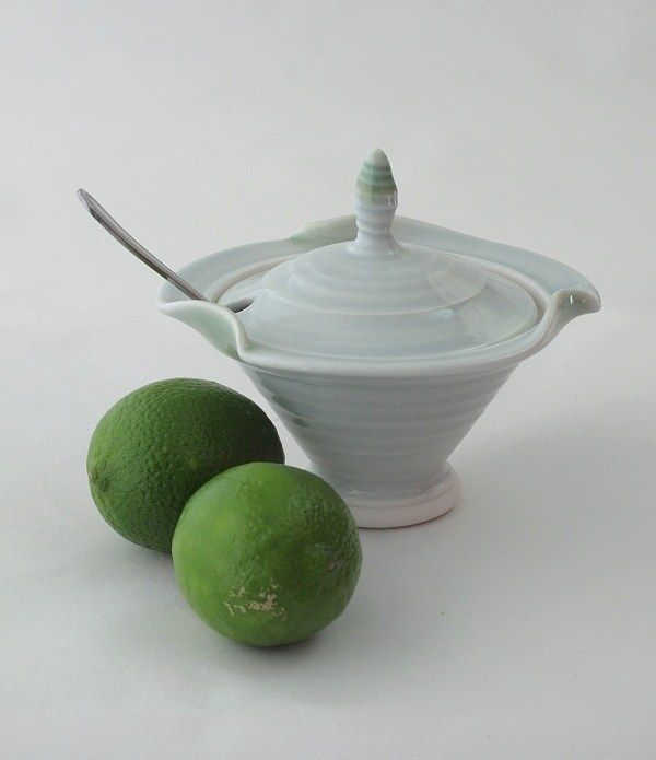 """Hand thrown porcelain sugar bowl made from high quality """"Ming"""" porcelain glazed with celadon glaze. Microwave and dishwasher safe. http://www.marketdirect.ie/porcelain-wave-collection-sugar-bowl"""