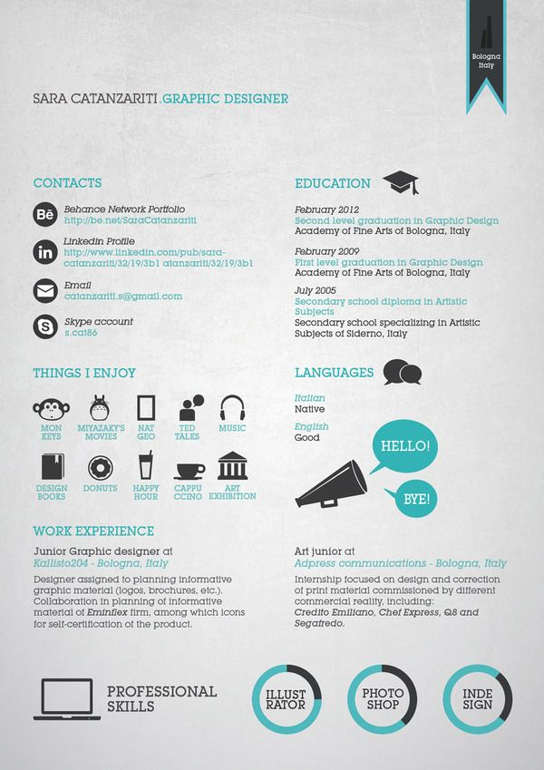 Graphic Resume/ CV by Sara Catanzariti, via Behance