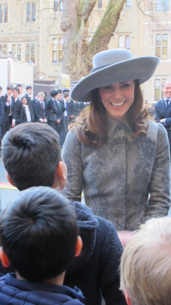 After the service, the Duke and Duchess of Cambridge and Prince Harry met local school children.