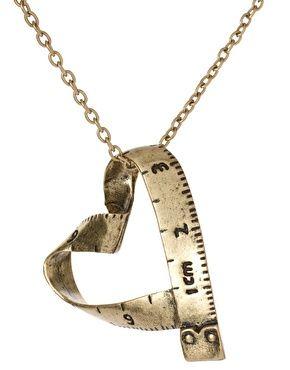 measuring tape heart pendant