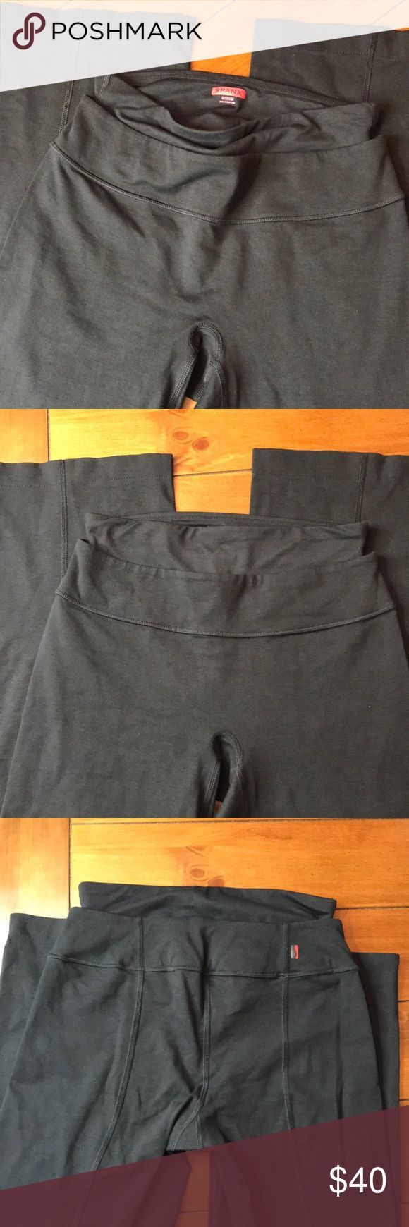 """{Spanx} Thick Black Legging with Spanx Support These leggings/ pants are AMAZING. They will hold you in! And in all the right places! I know the tag looks washed out, but the quality on these pants are amazing and the pants are in amazing shape! Look near new! The inseam is Approx 25"""" and the waist is approx 13"""". These are not tight at the bottom and measure at approx 8.5"""" SPANX Pants Leggings"""