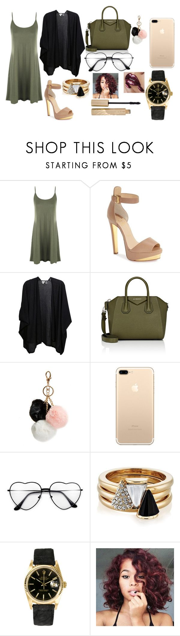 """Sunday Church 2/19/17 Outfit"" by queencotton21 on Polyvore featuring WearAll, Christian Louboutin, Kinross, Givenchy, GUESS, Brixton, Rolex and Stila"