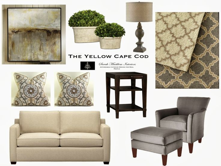 The Yellow Cape Cod Clean And CalmGray Tan Living Room Design Plan