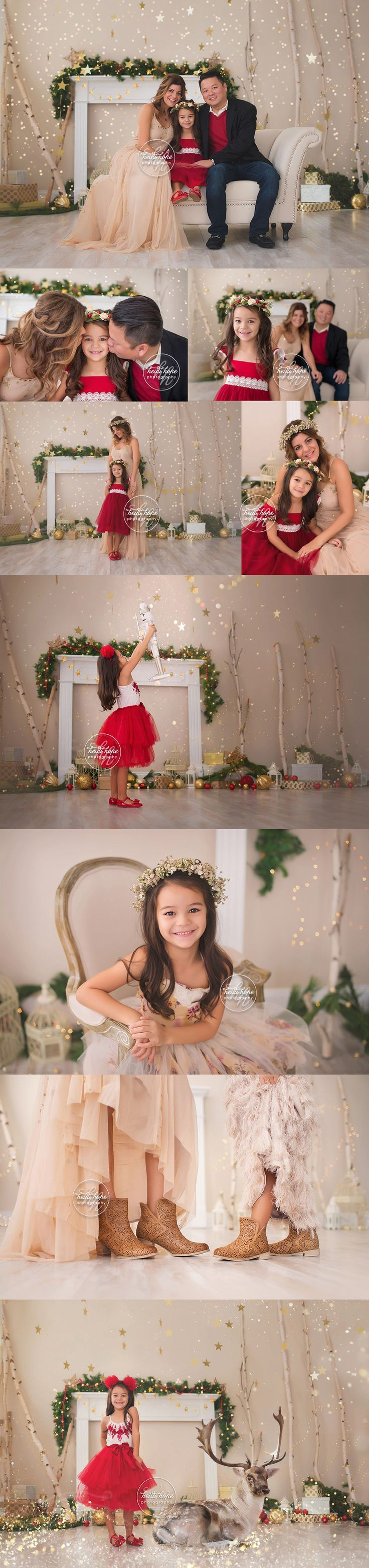 A sneak peek of the L family's magical Holiday portrait session!   Heidi Hope Photography  Studio portrait session Christmas 2016