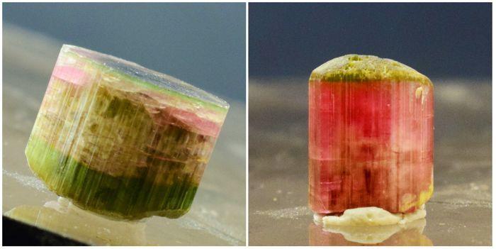 Dubbele Terminated onbeschadigde natuurlijke Bi Color Cats Eye Toermalijn kristallen Pair - 56 karaat (2)  Zowel de kristallen zijn compleet en onbeschadigd met unieke groen en diep roze kleuren. Kristallen zijn katten ogen.Gewicht: 56 karaatCrystal grootte: 19  15  12 mm 17  12  10 mmKleur: Katten ogenBehandeling: geenPlaats: Paprok AfghanistanStandaard verzending DHL  EUR 1.00  Meer informatie