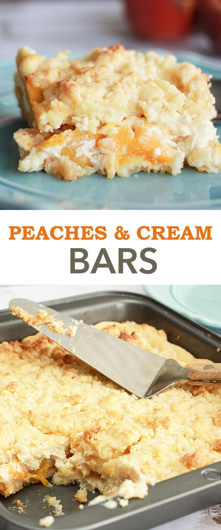 Peaches and Cream Bars Recipe - It's a dessert of fruit + white cake + cream cheese marriage that is sheer bliss!