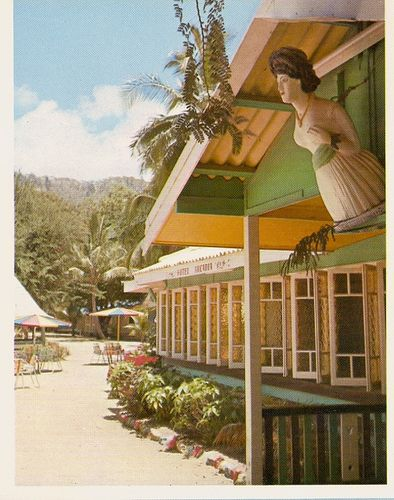 "Arcadia Hotel, Magnetic Island 1970, Far North Queensland. The Figurehead is from a ship called the ""Coquette"""