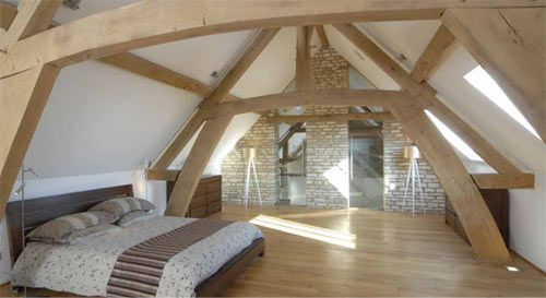 A modern barn bedroom - Chantry's Barn is now on the market for £3,250,000 with Smiths Gore in Stow-on-the-Wold.