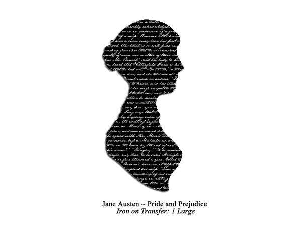 Jane Austen Silhouette   Jane Austen Pride and Prejudice Silhouette Iron on Transfer: White on ...