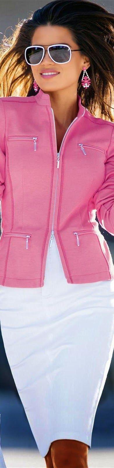 love the pink color jacket and accessories. Madeleine Jersey Zip Blazer