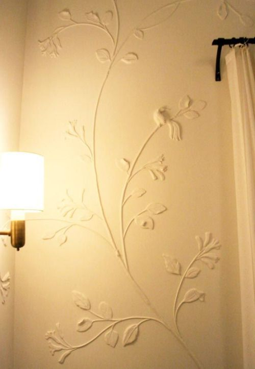 Sculpted plaster wall art technique. fauxology.com