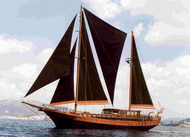 Beluga One, a traditional 85 foot, ten berth Turkish gulet.  Anouska Hempel created the entire interior design