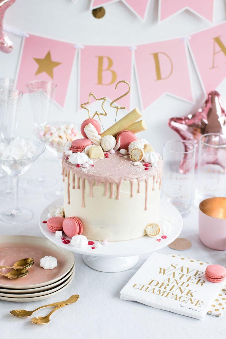 Candy Drip Cake Geburtstagstorte mit Himbeeren und Kokosnuss Madame Dessert   – Geburtstag