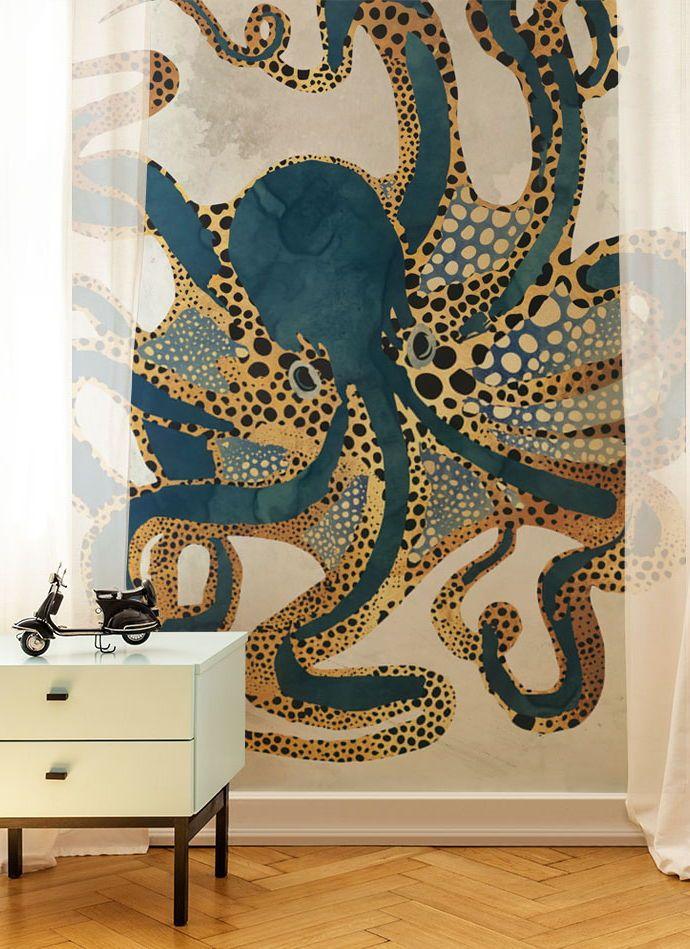 Underwater Dream Vi Wall Mural Wallsauce Nz Octopus Wallpaper Mural Wall Murals
