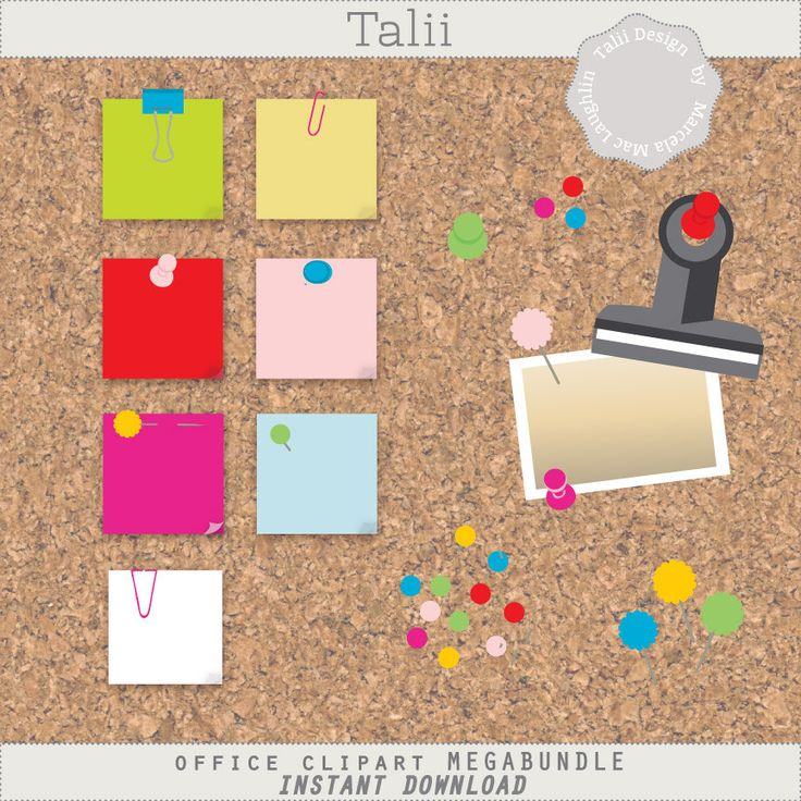 Office CLIPART Megabundle- 122 clip art PNG files of post-its, clips, pins, pushpins, with a cork board background paper in bright colors by TaliiDesign on Etsy