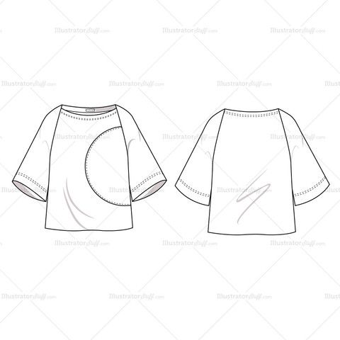 Women's Colorblock Boatneck Blouse Fashion Flat Template