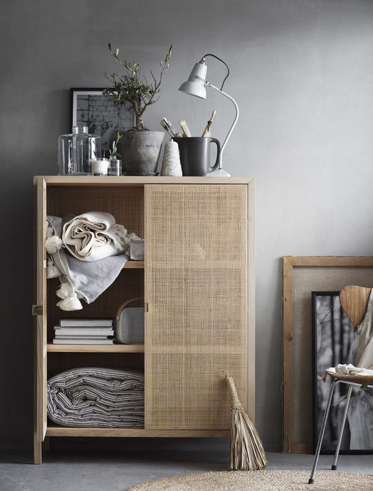 New IKEA Stockholm 2017 collection sideboard. Natural beige hues paired with grey - beautiful.