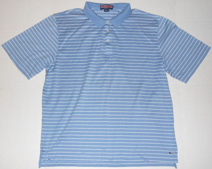 Vineyard vines men 39 s light blue striped polo shirt l large for Whale emblem on shirt