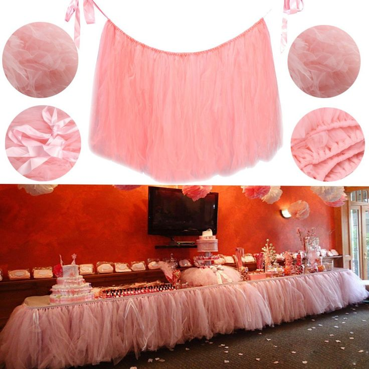 Pink 80*100cm Tulle Tutu Table Skirt Wedding Birthday Baby Shower Tableware Decoration