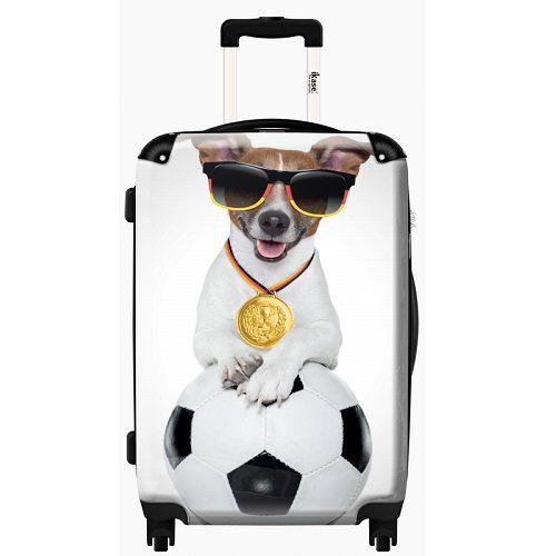 Adorable Cabin Luggage - Dog and Ball - http://kidsdotravel.co.uk/childrens-suitcases/suitcases-for-boys/ikase-dog-ad-ball-20-suitcase