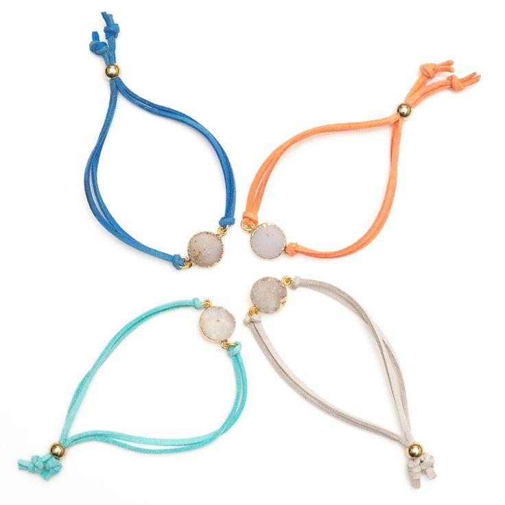 xada jewellery - Festival druzy quartz suede bracelet, $29.95 (http://www.xadajewellery.com/shop-collection/festival-druzy-quartz-suede-bracelet/)
