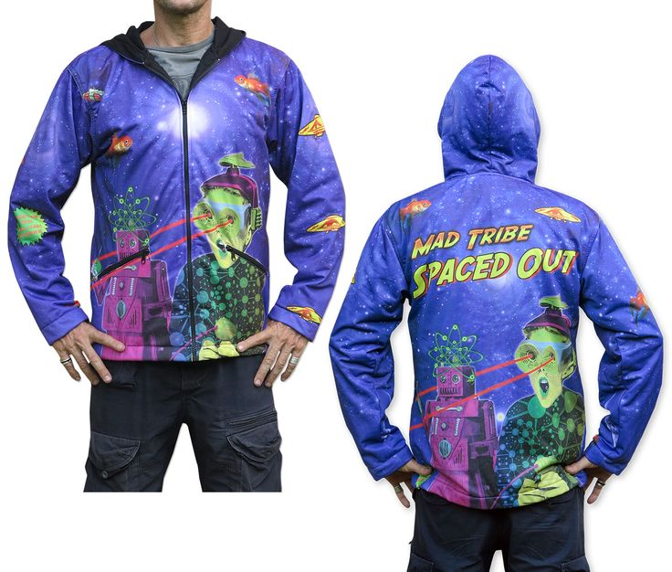 Sublime Hooded Jacket : Spaced Out.  Printed using sublimation printing on a high quality polyester fleece. This allows for extremely vibrant colors that will never fade away and results in an extremely soft 'feel' to the jacket, providing ultimate comfort. Fully lined with black fabric. 2 outside zip pockets and 2 inside zip pockets. Secret stash pocket label ! Not printed with UV inks, but printed on UV active fabric, so there is some effect under the blacklight.  Art by Space Tribe