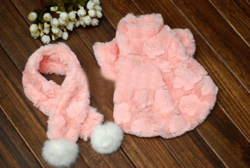 Luxury Pink With Scarf Faux Rabbit FUR Small DOG PET Apparel Coat Autumn Winter | eBay