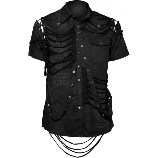 Visit our gothic clothing shop for this black button down shirt for men, by Queen of Darkness. Detailed with print and fabric straps.