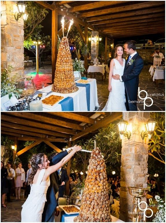 Our couple enjoying the sweets after a delicious taverna meal at Pigi in Potamia, Naxos. Sweets table styled by Islandevents.gr. #naxosweddings