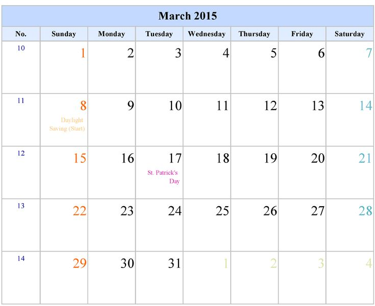 Download March 2015 Calendar With Holidays. Cute March 2015 Calendar Canada, USA, UK, Australia, Templates, Excel, Word, Pdf, Holiday in March 2015 Calendar.