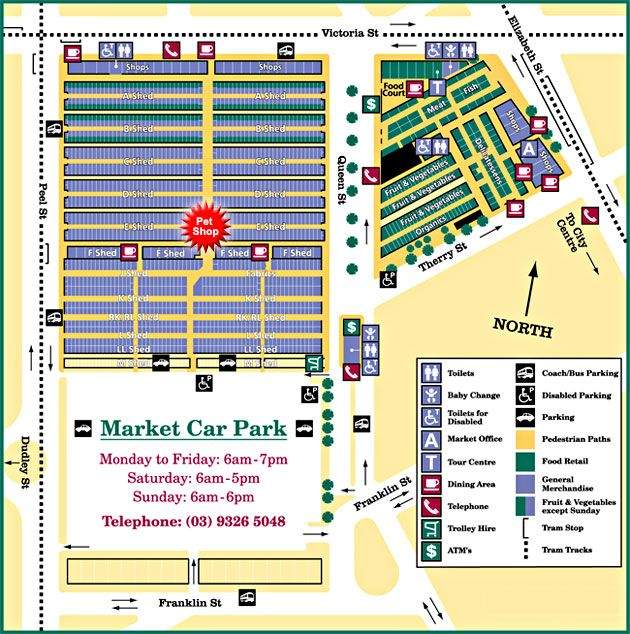 Map of Queen Victoria Market in Melbourne, Australia. Also known as the Vic Market or the Queen Vic.