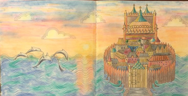 Dream Cities. A Fantasy Kingdom. Coloured by Prue.