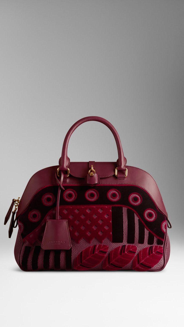 Burberry Medium Velvet And Leather Bowling Bag in Red (elderberry) | Lyst