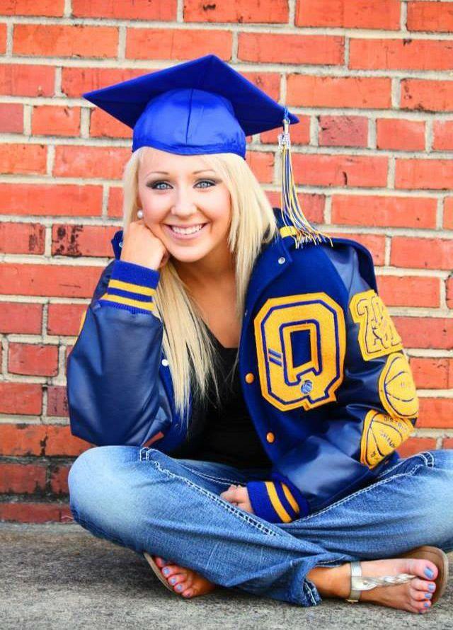 Senior Portrait / Photo / Picture Idea - Girls - Varsity Letter Jacket - Graduation Cap