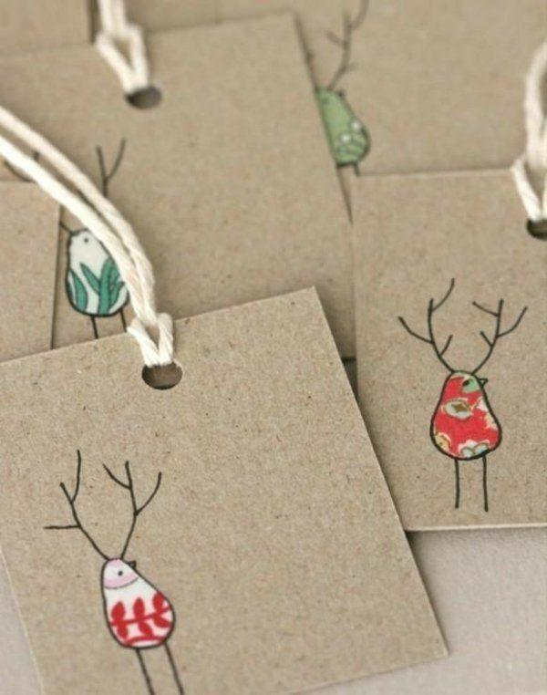 weihnachtskarten basteln hirsche santa klaus