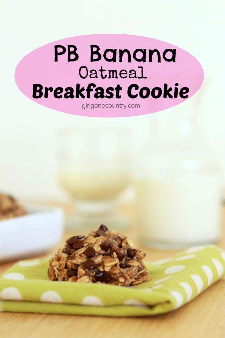 PB Banana Oatmeal Breakfast Cookies - 1 1/4 cup mashed ripe banana, 1/2 cup pb, 2 cups oats, 1/4 chocolate chips, baking soda, cinnamon and sea salt. bake for 15 minutes. Enjoy!