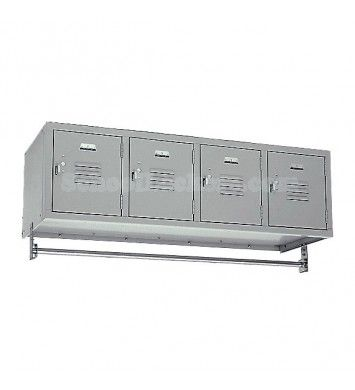 4 Person Wall Mount Lockers for sale! Feature four private box compartments and a hanging rod for up to 16 coats. You can also remove the coat rod and set this unit on counters or cabinets. #lockers #schoollockers
