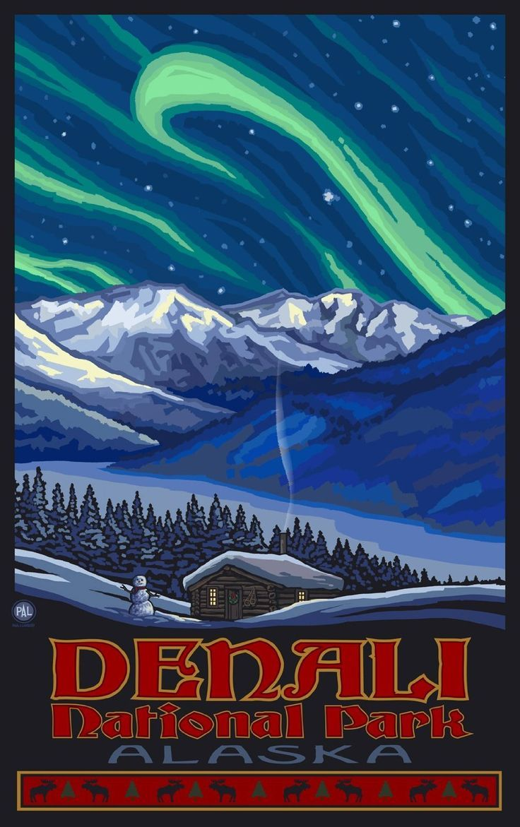 Co color art printing anchorage alaska - Amazon Com Northwest Art Mall Denali National Park Alaska Northern Lights Artwork By Paul
