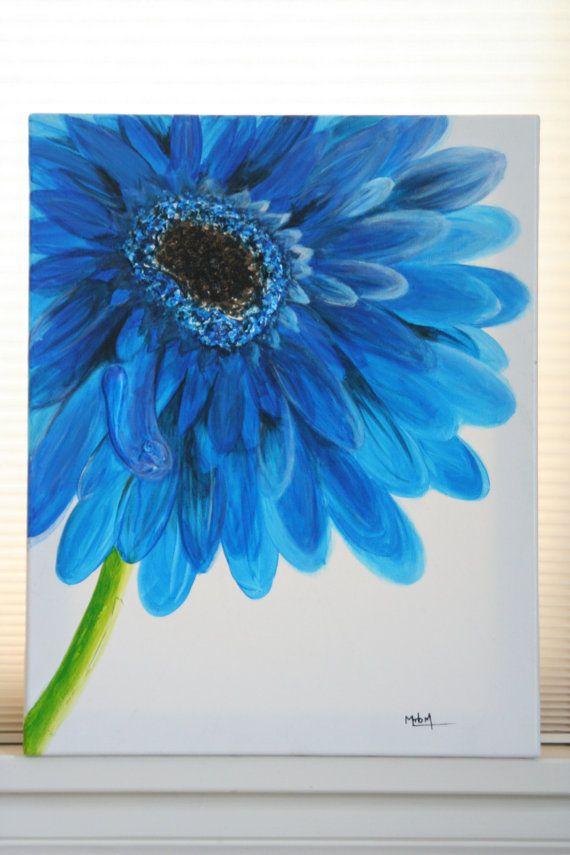 Flower acrylic painting by daintyaffair on Etsy, $60.00