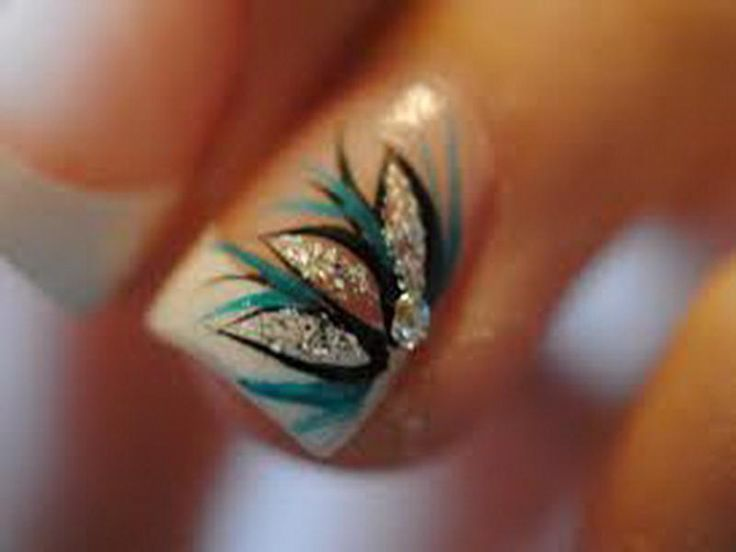 Wedding inspired Acrylic Nails with a turquoise and silver flower design on  the ring finger - 63 Best Nails Images On Pinterest Make Up, French Manicures And