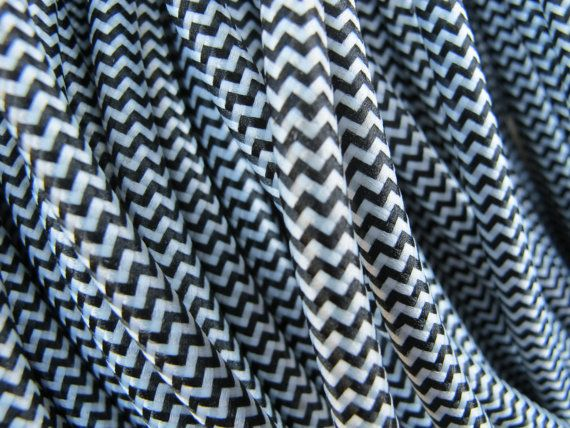 colored lamp cord black and white herringbone pattern woven fabric covered electrical cord for lamps