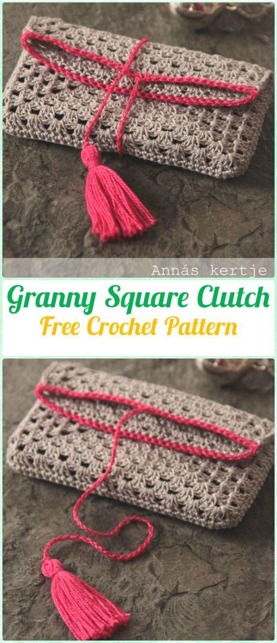 Crochet Granny Square Clutch Free Pattern - Crochet Clutch Bag & Purse Free Pattern
