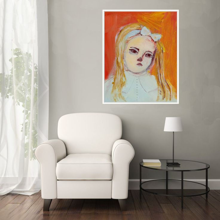 Fine Art Print, Giclee Art, from painting, modern wall art orange turquoise, girl, by Ana Gonzalez by AnaGonzalezArt on Etsy