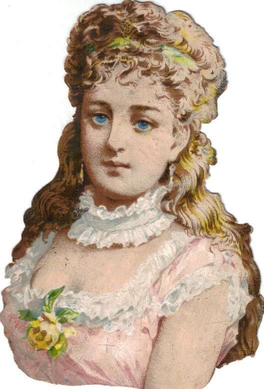 Victorian Die Cut Scrap Blue Eyed Girl w Sunlit Hair c1880: Victorian Die Cut Scrap Blue Eyed Girl w Sunlit Hair c1880